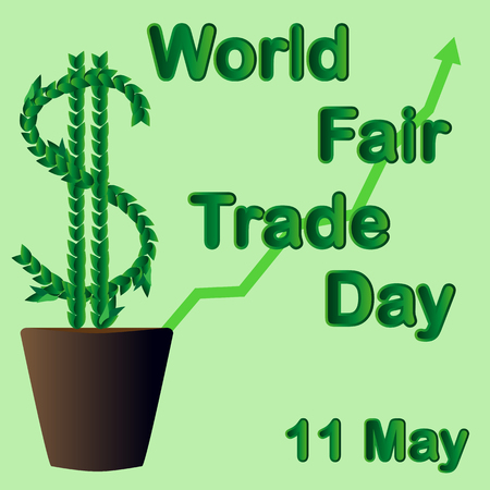 World Fair Trade Day. The money tree grows in a flowerpot. May 1. illustration.