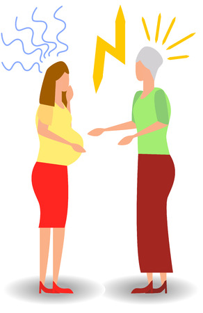 quarrel with a pregnant woman. Aggressive people yell at each other. design graphics in a flat stylish style Illustration