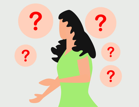concept illustration of people frequently asked questions, waiting to be answered, around the exclamation mark, answer to the metaphor of the question Ilustração