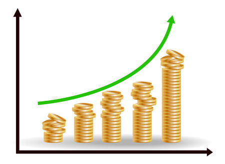 financial growth concept with stacks of golden coins