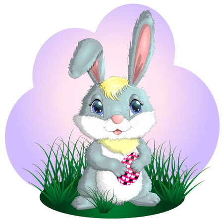 Happy Easter. Easter bunnies and egg in field. copy space for text Ilustrace