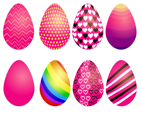 Set of Easter eggs with different texture on white background.Spring holiday. Happy easter eggs