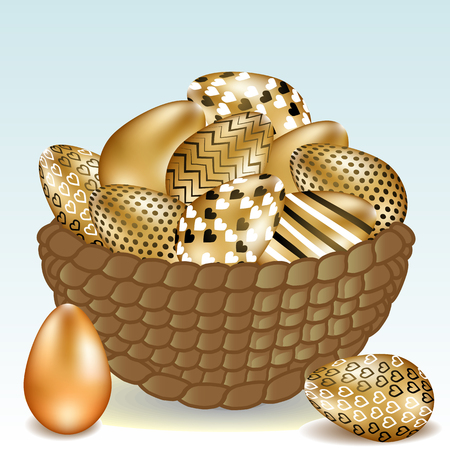 Beautiful basket with easter golden eggs, easter holiday concept
