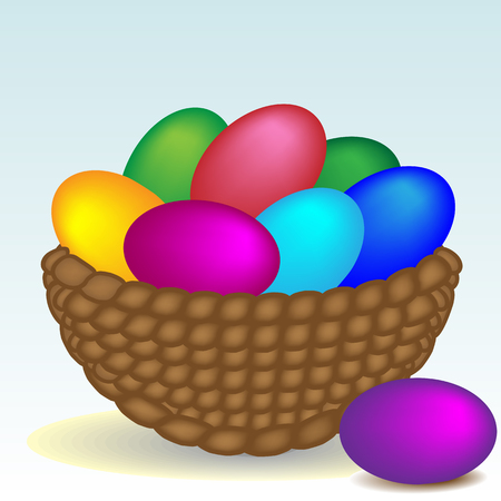 Beautiful basket with easter eggs, easter holiday concept
