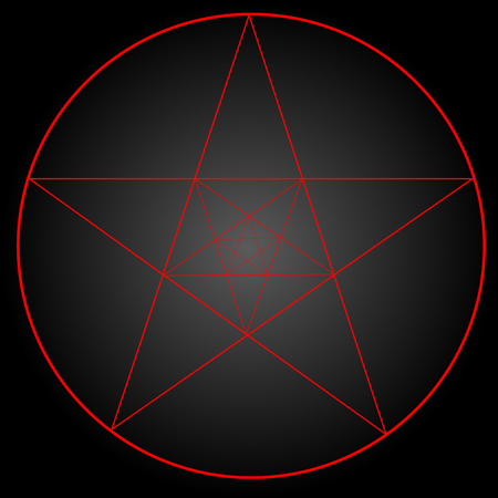 Pentagram or pentalpha or pentangle. dot work ancient pagan symbol of five-pointed star isolated. Black work, flash tattoo or print design.