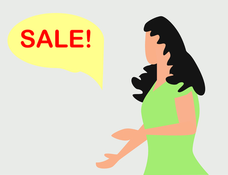 surprised woman face with open mouth and a sale speech bubble. Imagens - 124933334