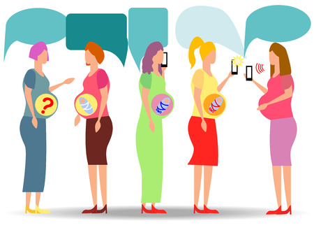 A group of pregnant women looking for answers in smartphones. question answer, online doctor Ilustração