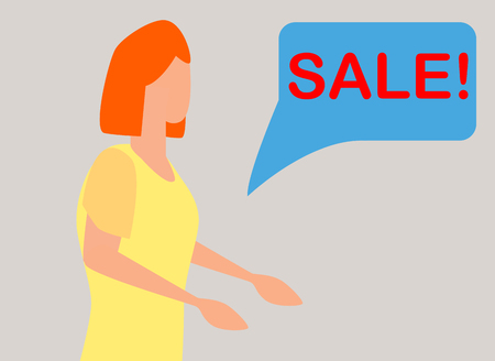 surprised woman face with open mouth and a sale speech bubble. Imagens - 124933343