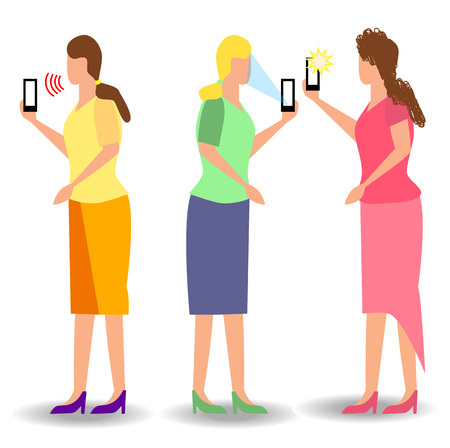 Girl taking selfie, pixel art.Woman recording video taking photo on phone camera texting making video call reading mail watching phone screen. Smartphone chat app. Messenger sticker. Live stream vlog. Çizim