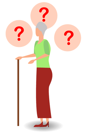 Asking questions elderly woman holding walking stick isolated on white background. Fanny granny hand up with question marks cartoon animated personage. Old female patient need help vector illustration