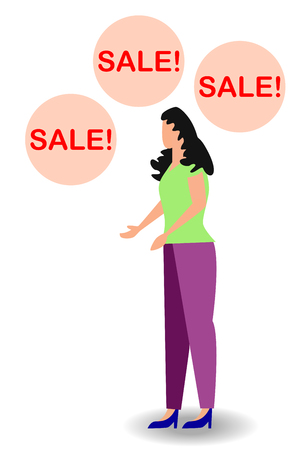 surprised woman face with open mouth and a sale speech bubble. Ilustrace