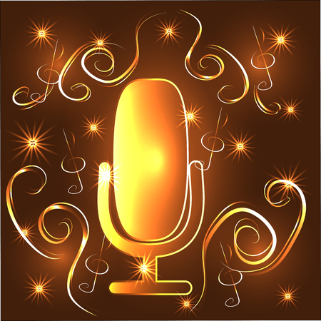 Neon Light Glowing Music with Microphone Symbol Illustration Graphic