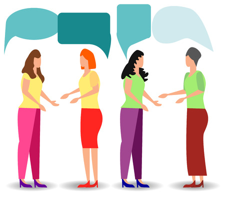 flat cartoon style, businessmen discuss social network, news, social networks, chat, dialogue speech bubbles Ilustrace