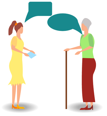 Cartoon family, two women mother and daughter talking