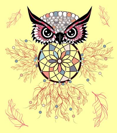 Traditional tattoo owl hold dream catcher symbol. Ilustrace