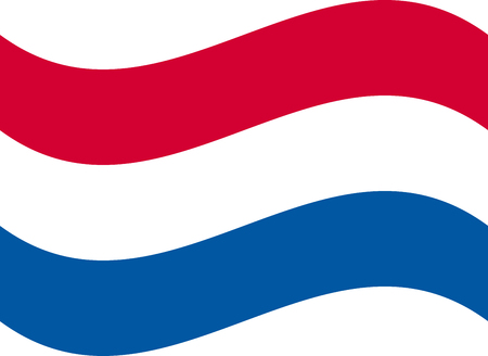 Waving flag of Netherland. illustration of icon with red, white and blue colors. Stock Illustratie