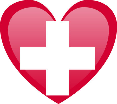 Flag of Switzerland White cross marks the middle of the banner.  イラスト・ベクター素材