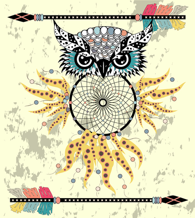 Cute Cartoon tribal Owl with feathers on a white background.