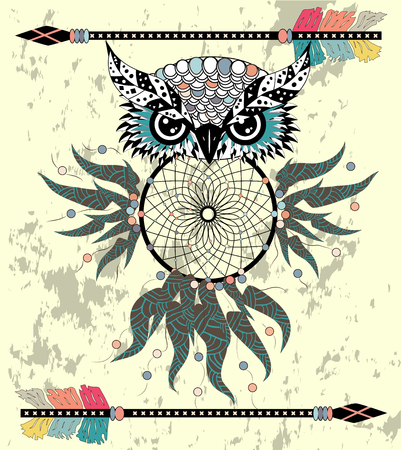 Cute Cartoon tribal Owl with feathers on a white background. Ilustrace
