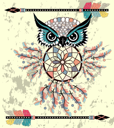 Patterned owl on the grunge background. African indian totem tattoo design