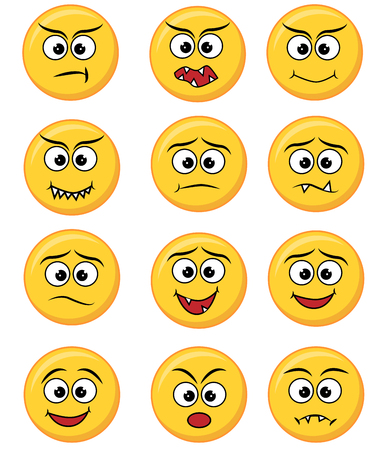 Set of happy, smile, laughing, joyful, sad angry and crying faces yellow emoticons.