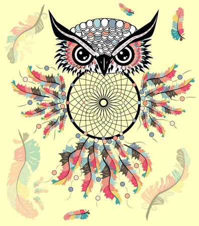 Dreamcatcher with owl. Zentangle. Abstract bird. Line art. Mystic symbol. American Indians symbol. spiritual relaxation for adults Illustration