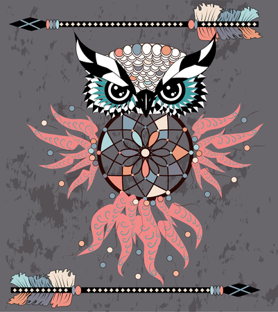 Indian decorative Dream Catcher owl in graphic style.
