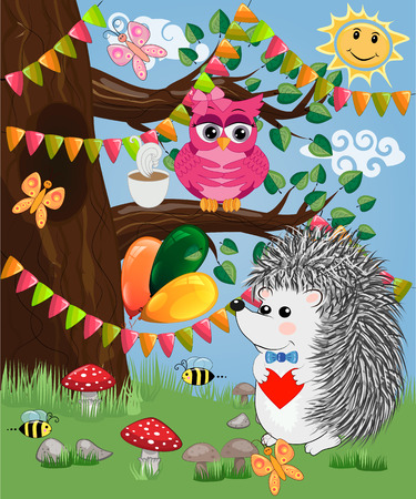 The hedgehog in the forest glade. The concept of art, love. Owl on a tree branch