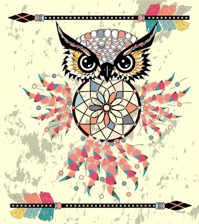 Cute Cartoon tribal Owl with feathers on a white background. Ilustracja