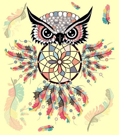 Hand drawn ornate spiritual symbols, totemic and mascot Owl with the dream catcher and mandala. Boho style. Иллюстрация