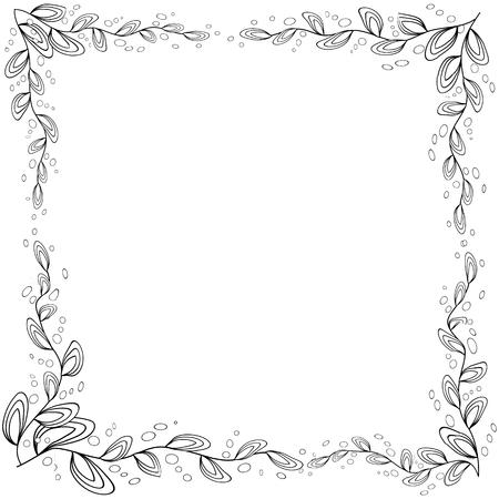 Marco floral. libro para colorear para adultos y niños mayores o como tarjeta de felicitación para cumpleaños, día de San Valentín o invitación de boda. Ilustración de vector