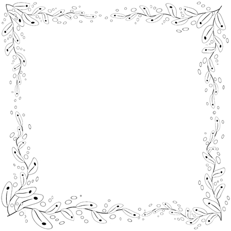 Floral frame. coloring book for adult and older children or like greeting card for birthday, Valentines day or wedding invitation.