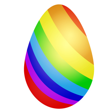 Beautiful Easter eggs with bright striped coloring. Colorful holiday gift or decoration. Eggs are decorated like gay pride rainbow. Symbol of freedom and religious tolerance.