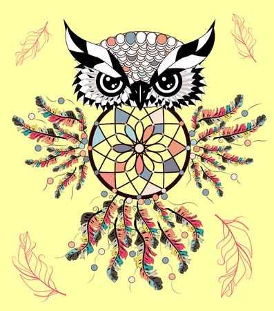 Color cute decorative ornamental Owl fall in love, doodle Иллюстрация