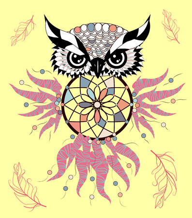 Color cute decorative ornamental Owl fall in love, doodle Illustration