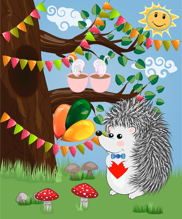 The hedgehog in the forest glade. The concept of art, love.