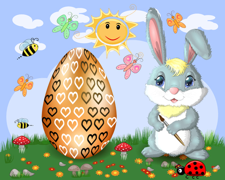 Easter bunny with a brush paints huge Easter egg on glade, the sun, butterflies, spring. Copy space