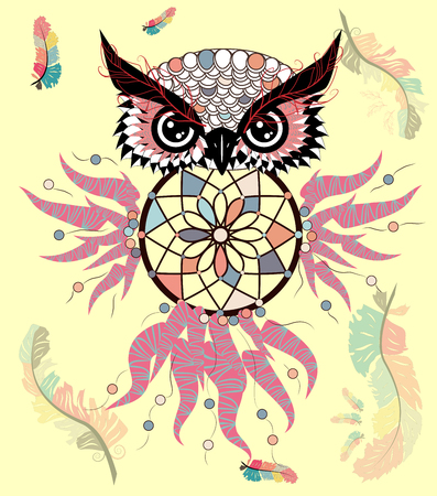 Hand drawn ornate spiritual symbols, totemic and mascot Owl with the dream catcher and mandala. Boho style. Illustration