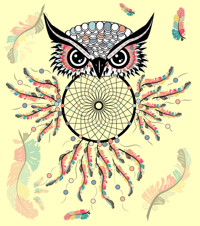 Dreamcatcher with owl. Zentangle. Abstract bird. Line art. Mystic symbol. American Indians symbol. spiritual relaxation for adults Ilustração