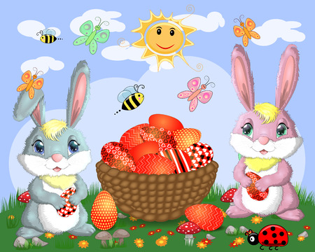 Easter bunnies near the basket with Easter eggs in meadow, the sun, butterflies, spring. Copy space