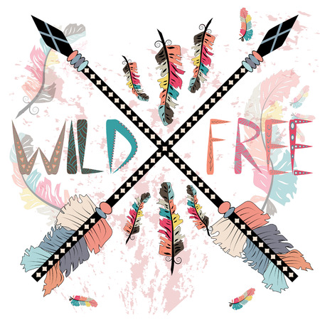colorful illustration with crossed ethnic arrows, feathers and tribal ornament. Boho and hippie style. American indian motifs. Wild and Free poster