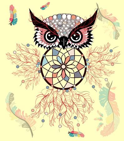 Hand drawn ornate spiritual symbols, totemic and mascot Owl with the dream catcher and mandala. Boho style. Ilustração