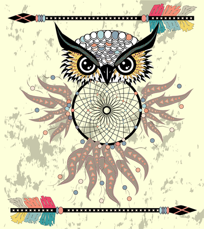 Boho style colored owl with tribal arrows. Bohemian tribal owl with a dream catcher. Totem owl.