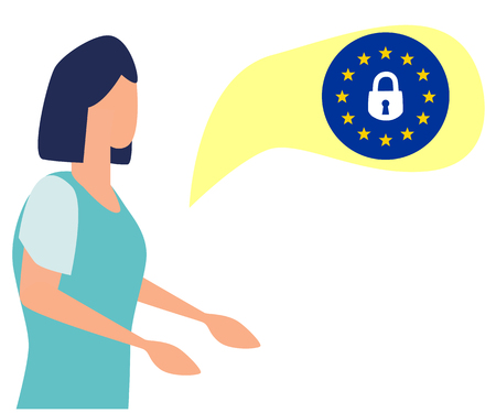 Concept woman talking about gdpr data protection, lock, locked password