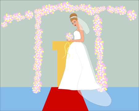 Sad bride in white wedding dress and pink flowers. Illustration of difficult wedding situation. Wedding character in cartoon hand drawn style Ilustração