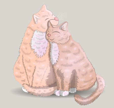 Two cats with hearts, the concept of love, romantic love, Valentines Day