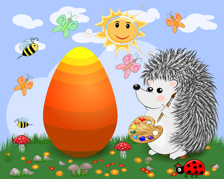 Easter hedgehog with a brush and a palette paints huge Easter egg on a glade, the sun, butterflies, spring. Copy space