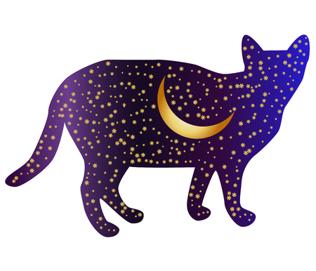 Cat-night. Cat silhouettes painted with a night sky with stars and a young moon Illustration