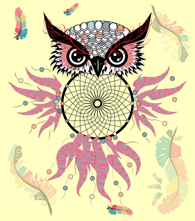 Dreamcatcher with owl. Zentangle. Abstract bird. Line art. Mystic symbol. American Indians symbol. spiritual relaxation for adults