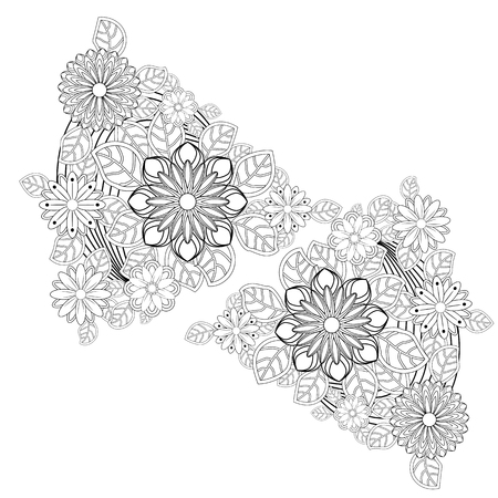 Henna tattoo doodle elements on white background. Mehendi flowers. Abstract floral elements in Indian style. Ethnic ornament, coloring book.